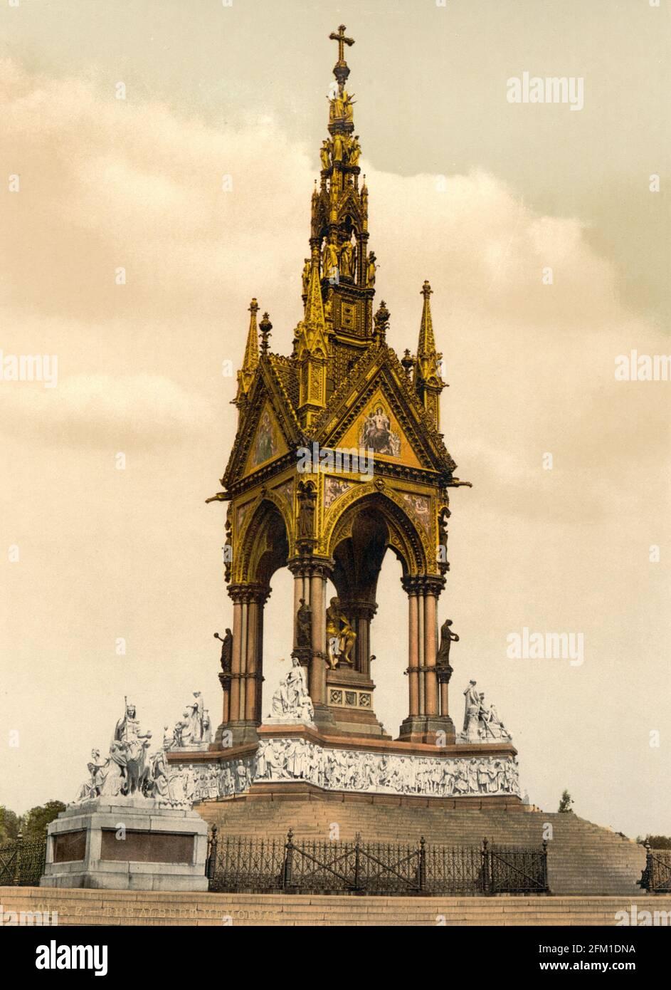 The Albert Memorial à Hyde Park, Londres vers 1890-1900 Banque D'Images