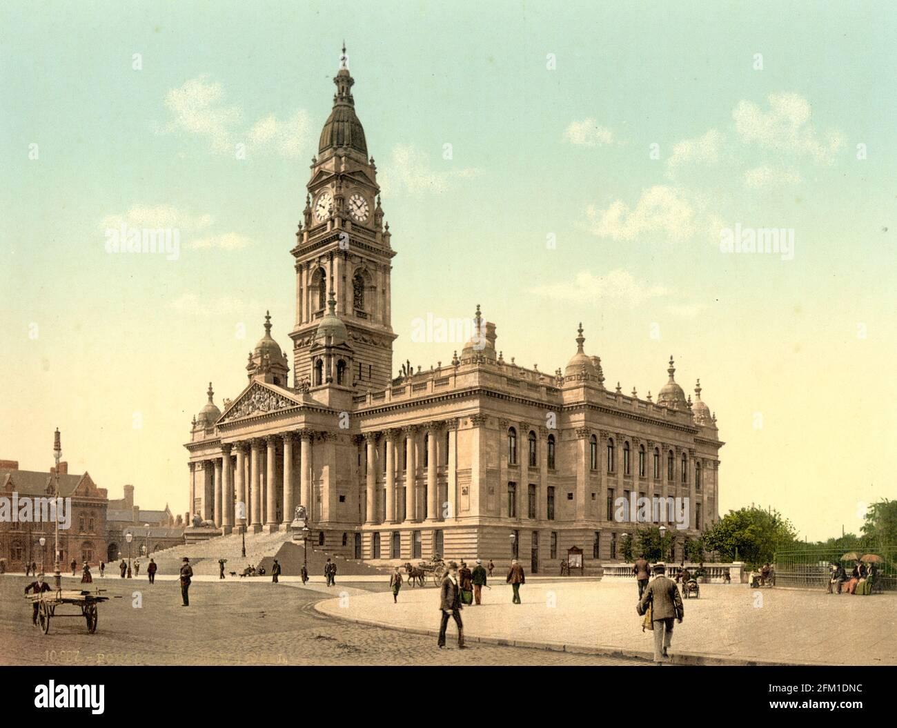 L'hôtel de ville, Portsmouth vers 1890-1900 Banque D'Images