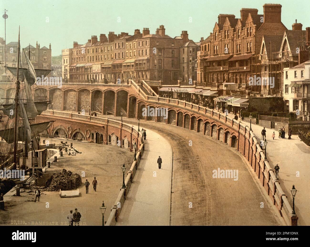 New Road, Ramsgate dans le Kent vers 1890-1900 Banque D'Images