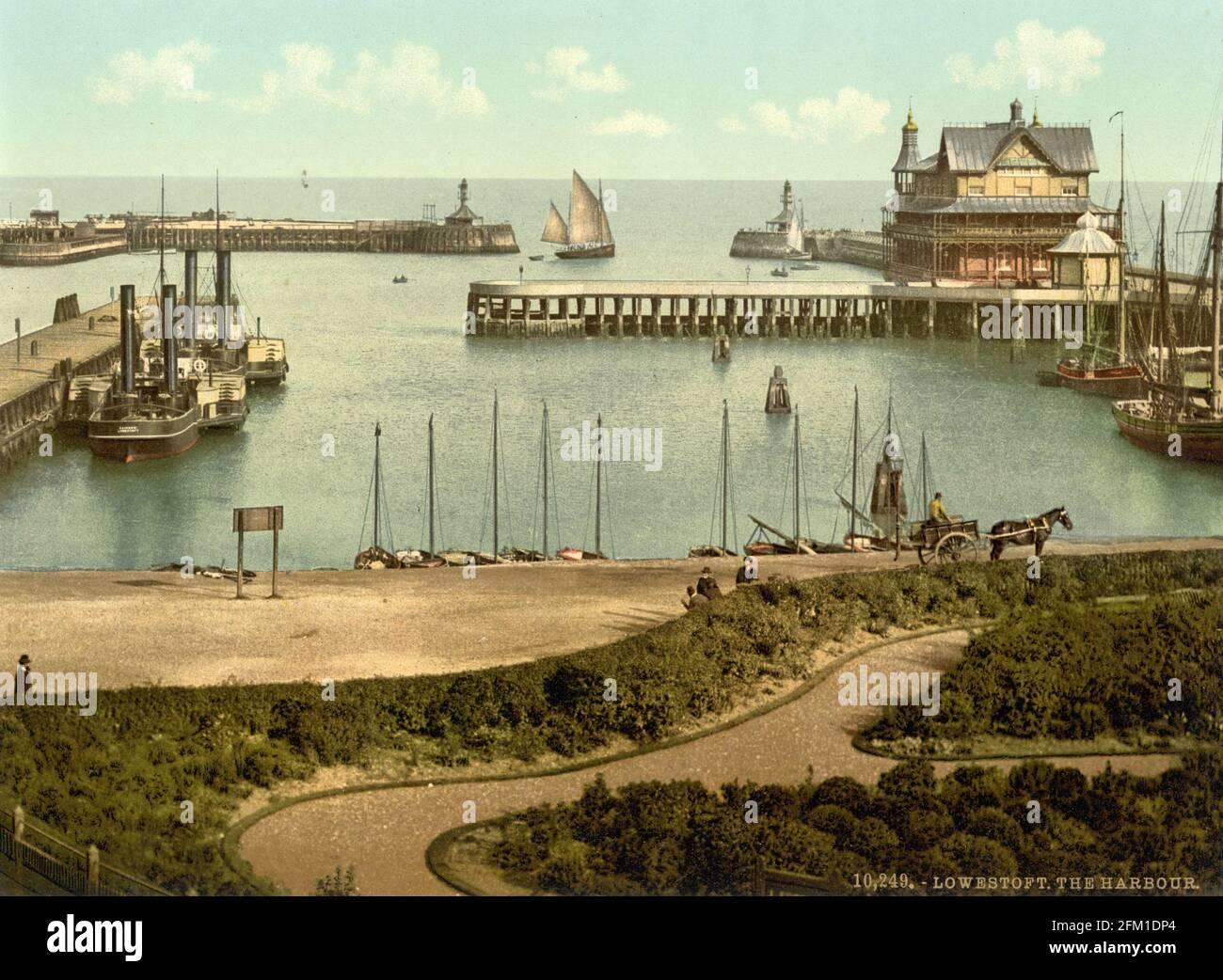 Port de Lowestoft dans le Suffolk vers 1890-1900 Banque D'Images