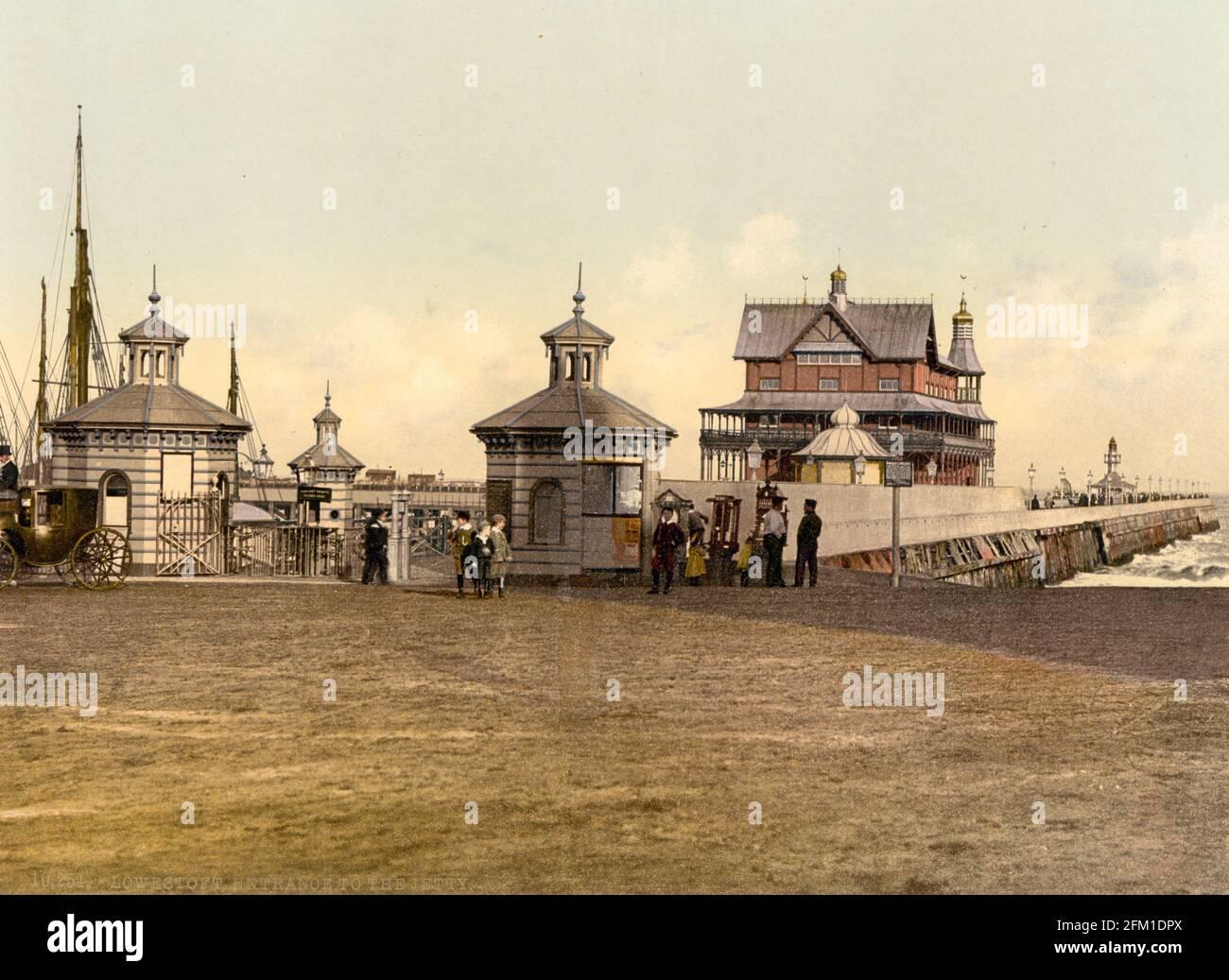 Jetée de Lowestoft dans le Suffolk vers 1890-1900 Banque D'Images