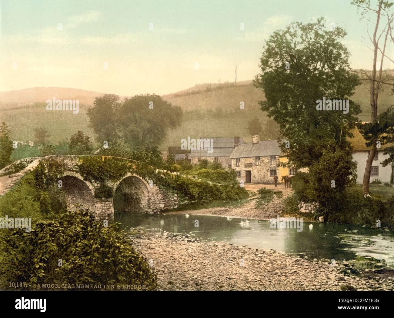 Pont de Malmsmead au-dessus de Badgworthy Water sur Exmoor vers 1890-1900 Banque D'Images