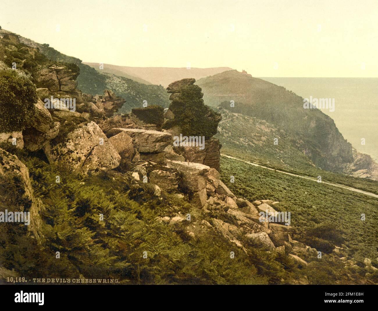 Le Devil's Cheese wring dans la Vallée des rochers Exmoor près de Lynton dans le Devon vers 1890-1900 Banque D'Images