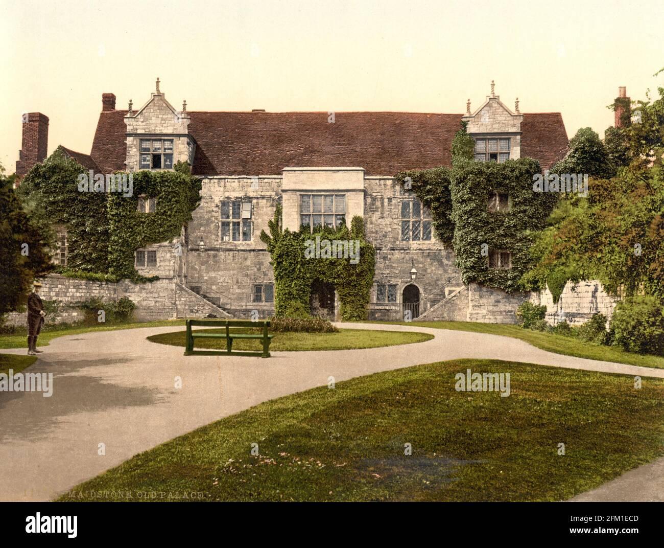 Le Palais de l'Archevêque, Maidstone dans le Kent vers 1890-1900 Banque D'Images
