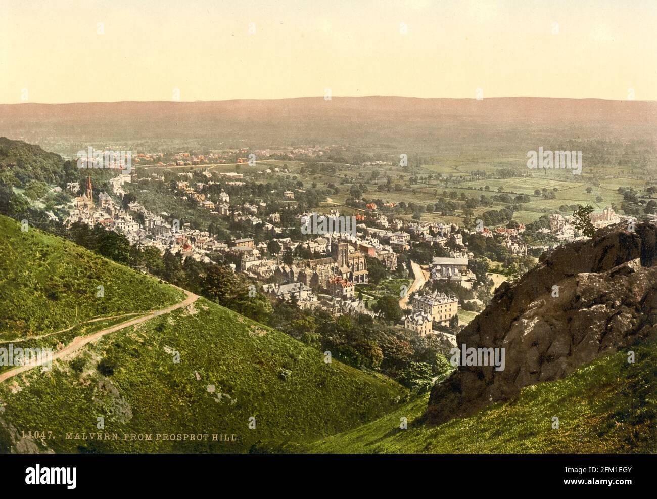 Malvern ville vue de Prospect Hill dans Worcestershire vers 1890-1900 Banque D'Images