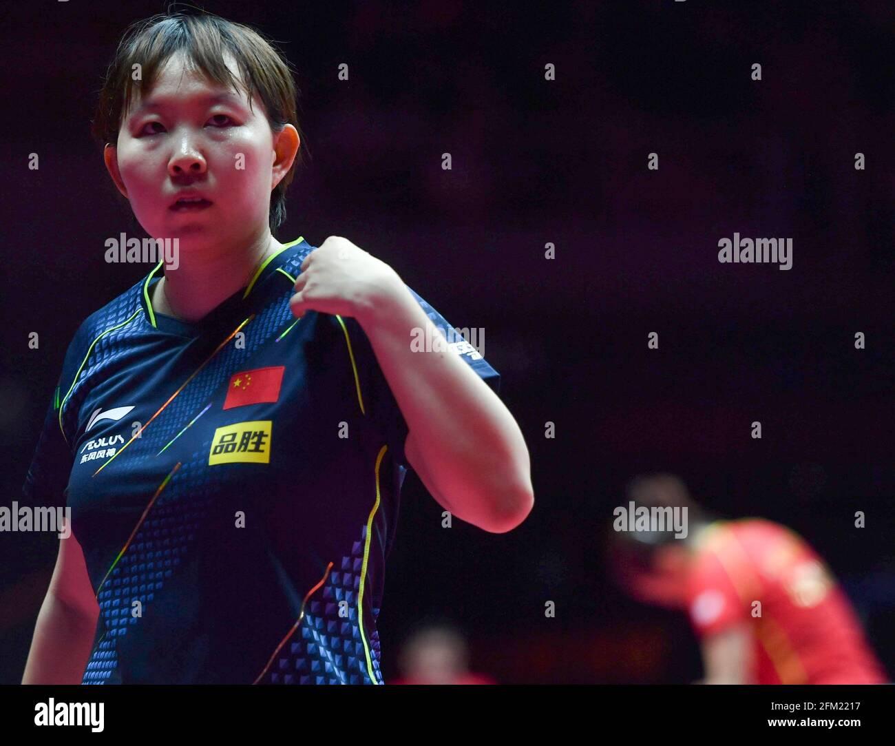 Xinxiang, province chinoise du Henan. 5 mai 2021. Zhu Yuling réagit lors de la quart de finale des femmes contre Liu Shiwen lors des essais de Grand smashes et de la simulation olympique de WTT (World Table tennis) 2021 à Xinxiang, dans la province de Henan, dans le centre de la Chine, le 5 mai 2021. Credit: Li Jianan/Xinhua/Alamy Live News Banque D'Images