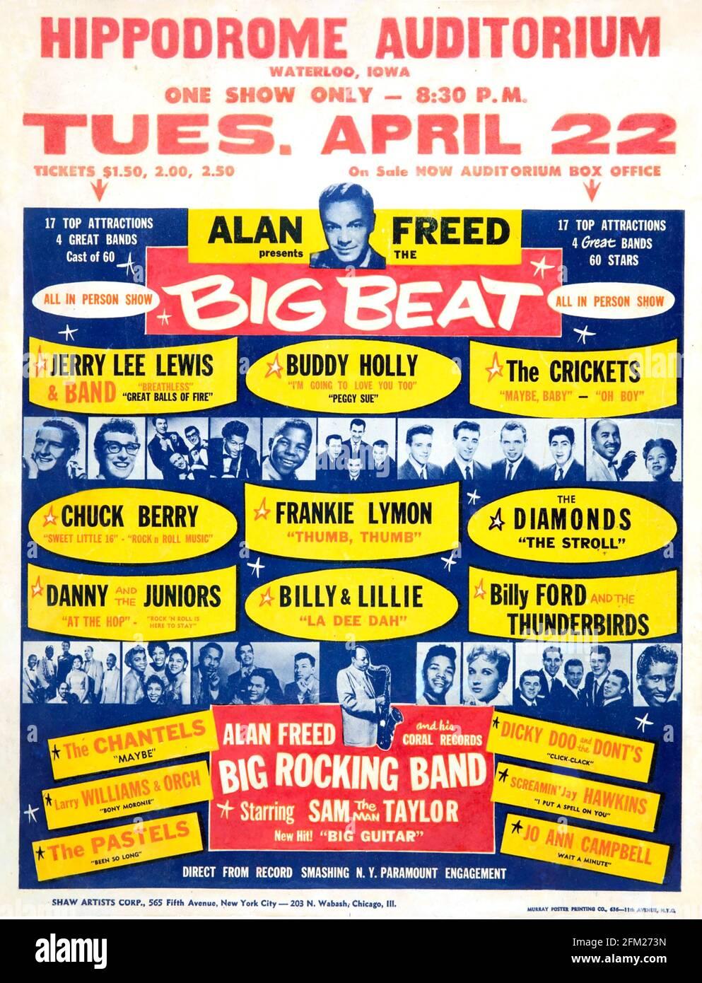 Présentation DE L'affiche « BIG BEAT pop » D'ALAN FREED de 1958 une foule de noms célèbres Banque D'Images