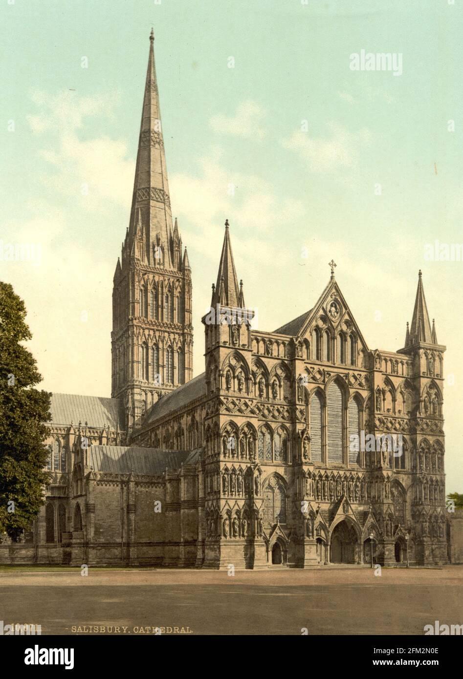 Cathédrale de Salisbury, Wiltshire vers 1890-1900 Banque D'Images