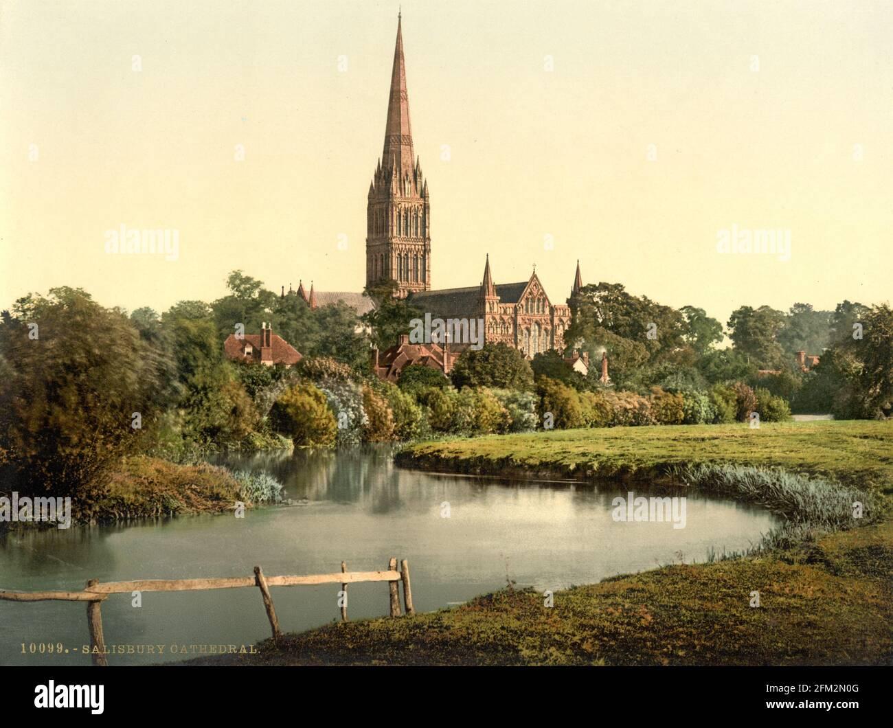 Cathédrale de Salisbury et rivière Avon, Wiltshire vers 1890-1900 Banque D'Images