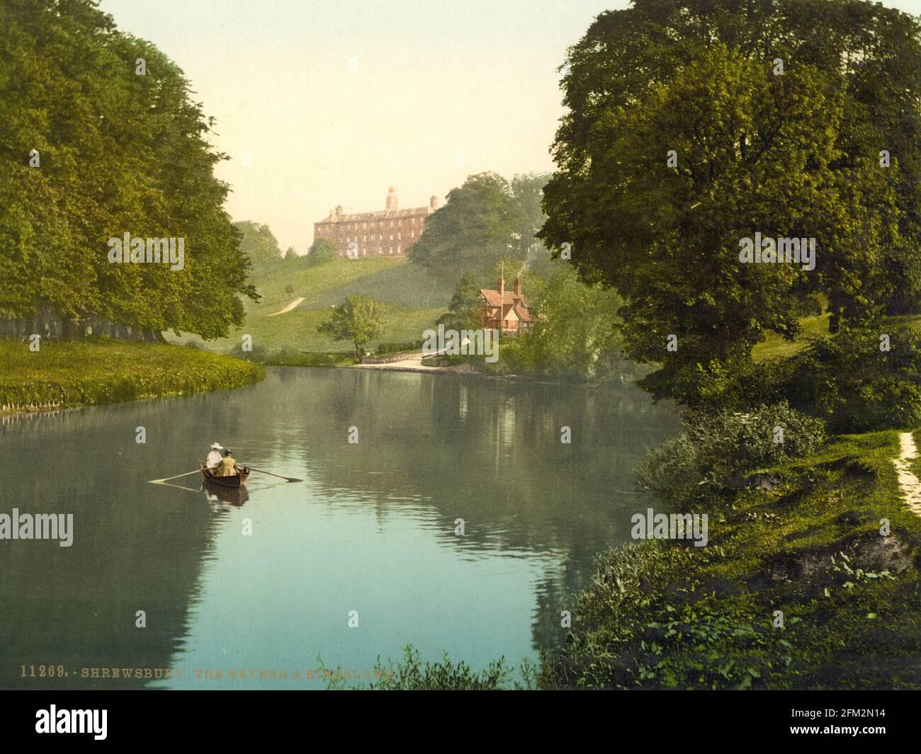 La rivière Severn à Shrewsbury Shropshire vers 1890-1900 Banque D'Images