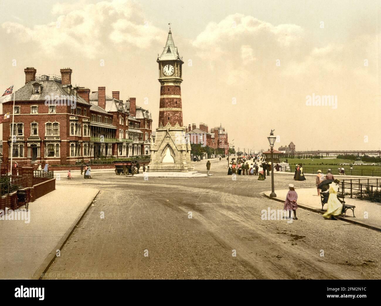 Tour de l'horloge de Skegness et North Parade, Lincolnshire vers 1890-1900 Banque D'Images