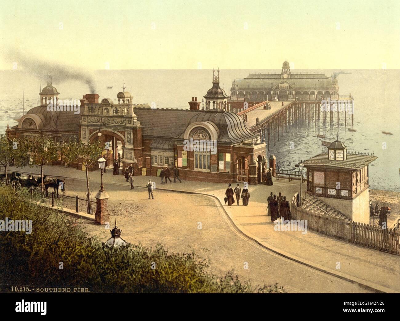 Southend-on-Sea Pier, Essex vers 1890-1900 Banque D'Images
