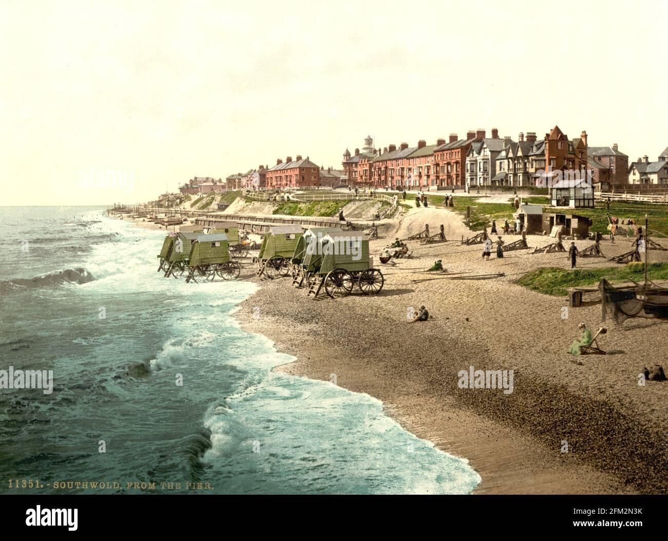 Front de mer de Southwold, Suffolk, vers 1890-1900 Banque D'Images