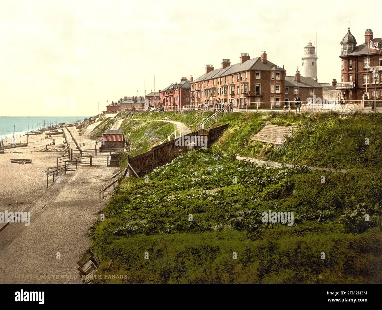 North Parade, bord de mer de Southwold, Suffolk, vers 1890-1900 Banque D'Images