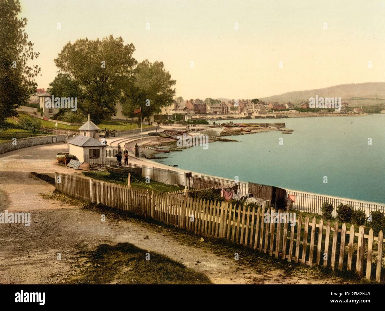 Plage de Swanage à Dorset vers 1890-1900 Banque D'Images