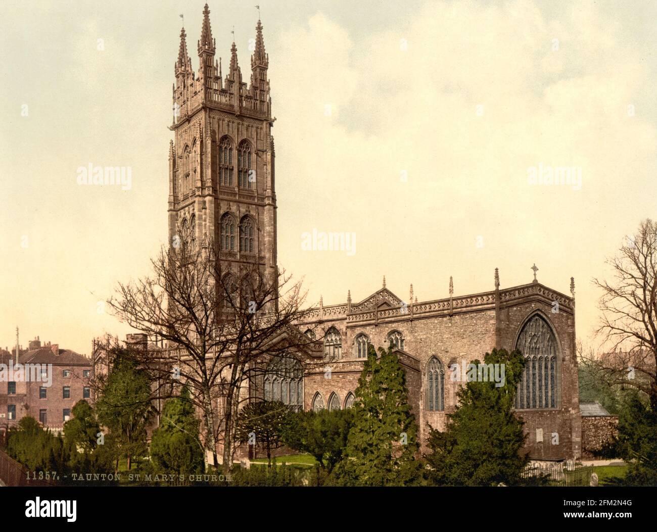 Église de Taunton St mary, Devon vers 1890-1900 Banque D'Images
