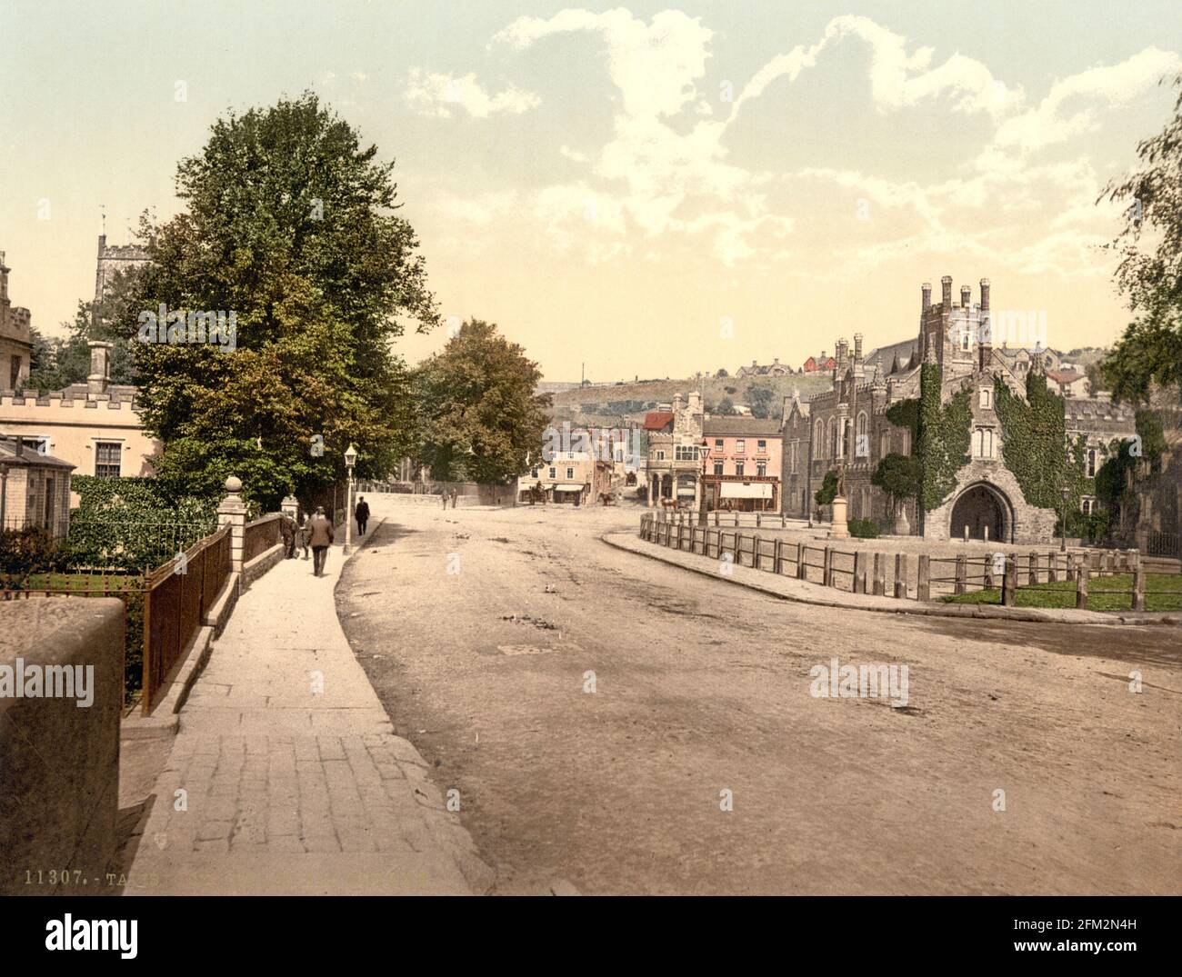 Place Guildhall, Tavistock, Devon vers 1890-1900 Banque D'Images