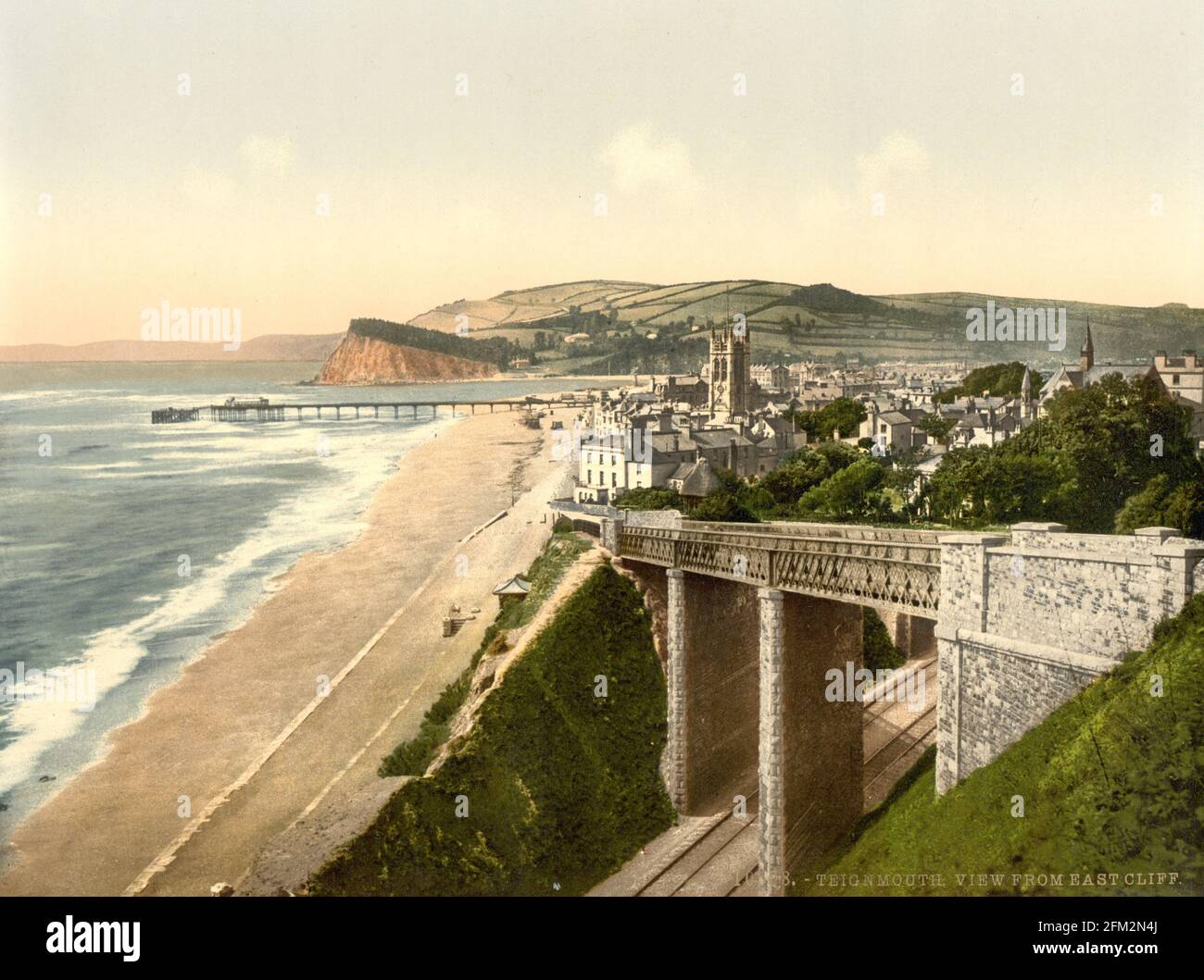 Front de mer de Teignmouth et pont de Slopey , Devon vers 1890-1900 Banque D'Images