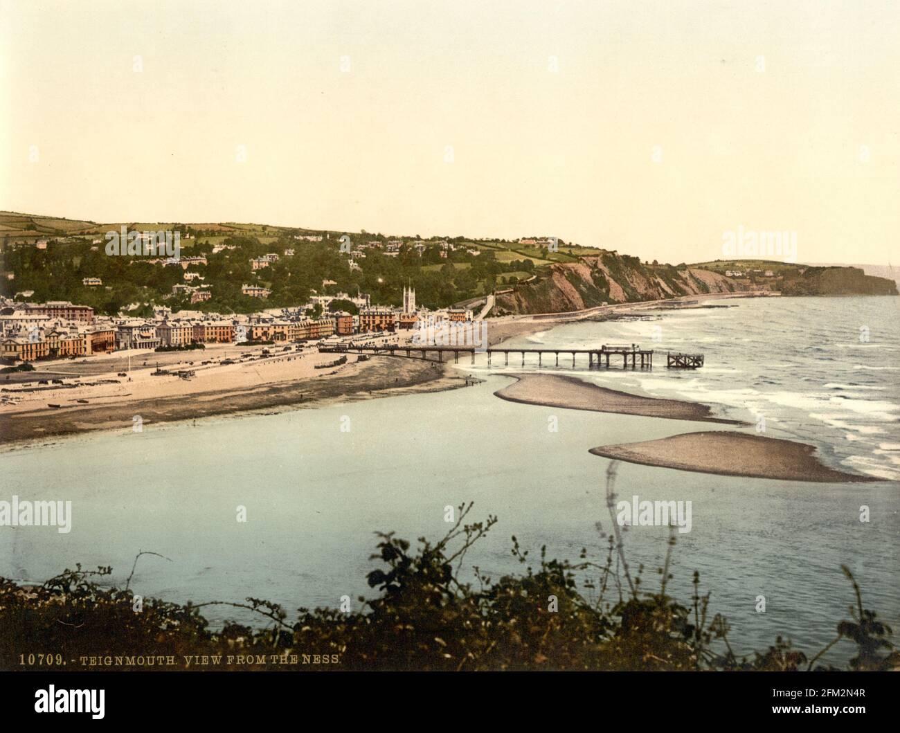 Front de mer de Teignmouth vu de la Ness, Devon vers 1890-1900 Banque D'Images