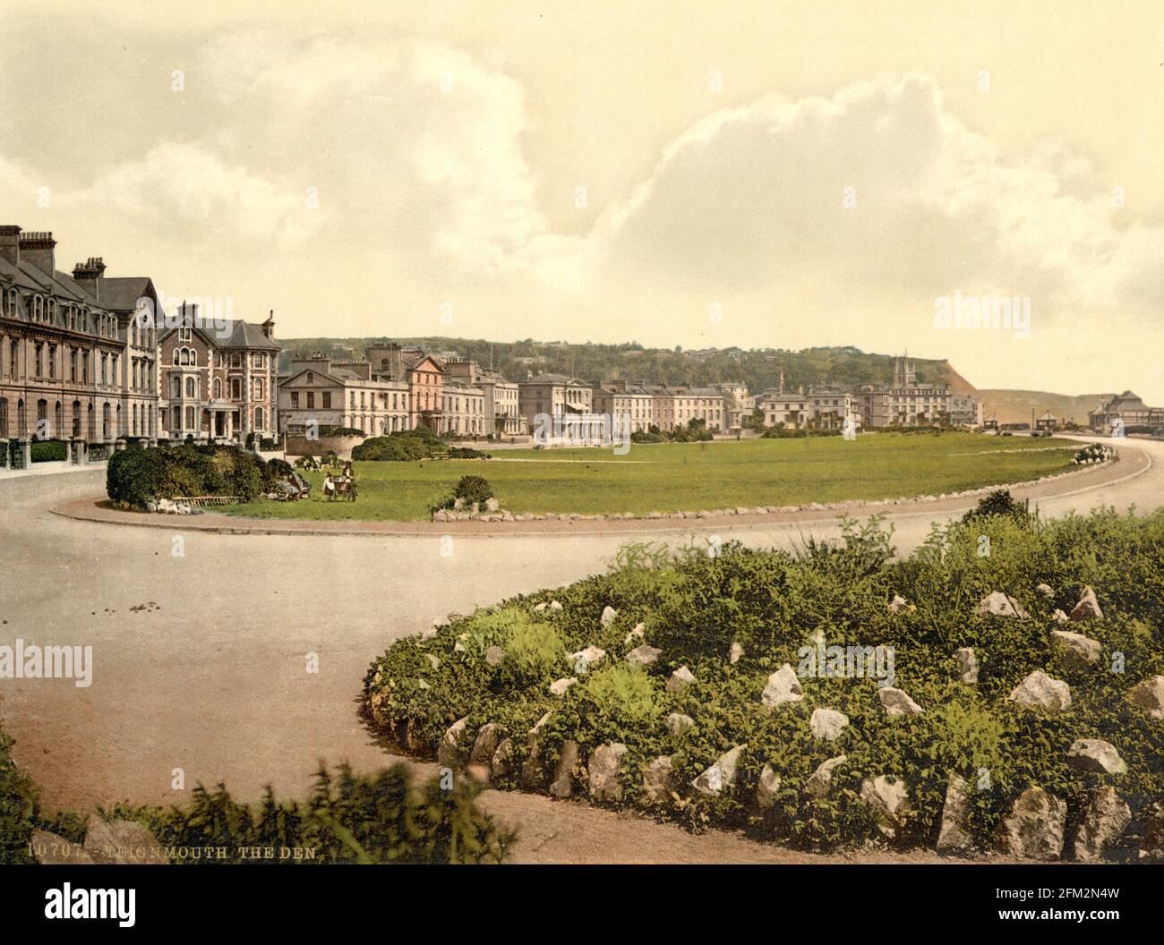 Le Den au front de mer de Teignmouth, Devon vers 1890-1900 Banque D'Images