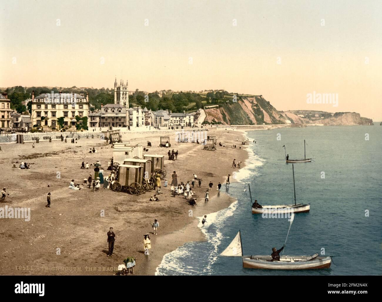 Front de mer de Teignmouth, Devon vers 1890-1900 Banque D'Images