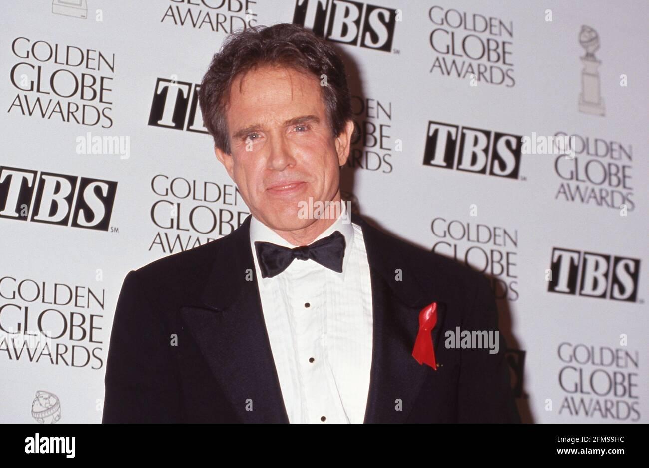 Warren Beatty au 49e Golden Globe Awards annuel à l'hôtel Beverly Hilton à Beverly Hills, Californie 18 janvier 1992 crédit: Ralph Dominguez/MediaPunch Banque D'Images