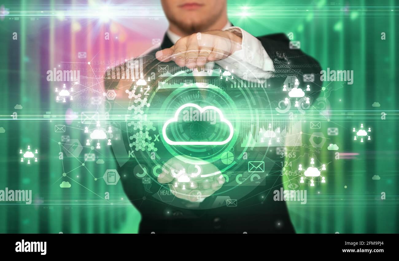 Concept d'icône technologique de la holding d'homme d'affaires Banque D'Images