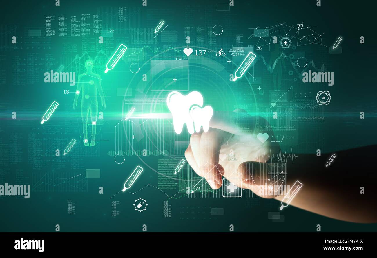 Médecin dispositif de santé futuriste avec symbole médical sur la main écran Banque D'Images