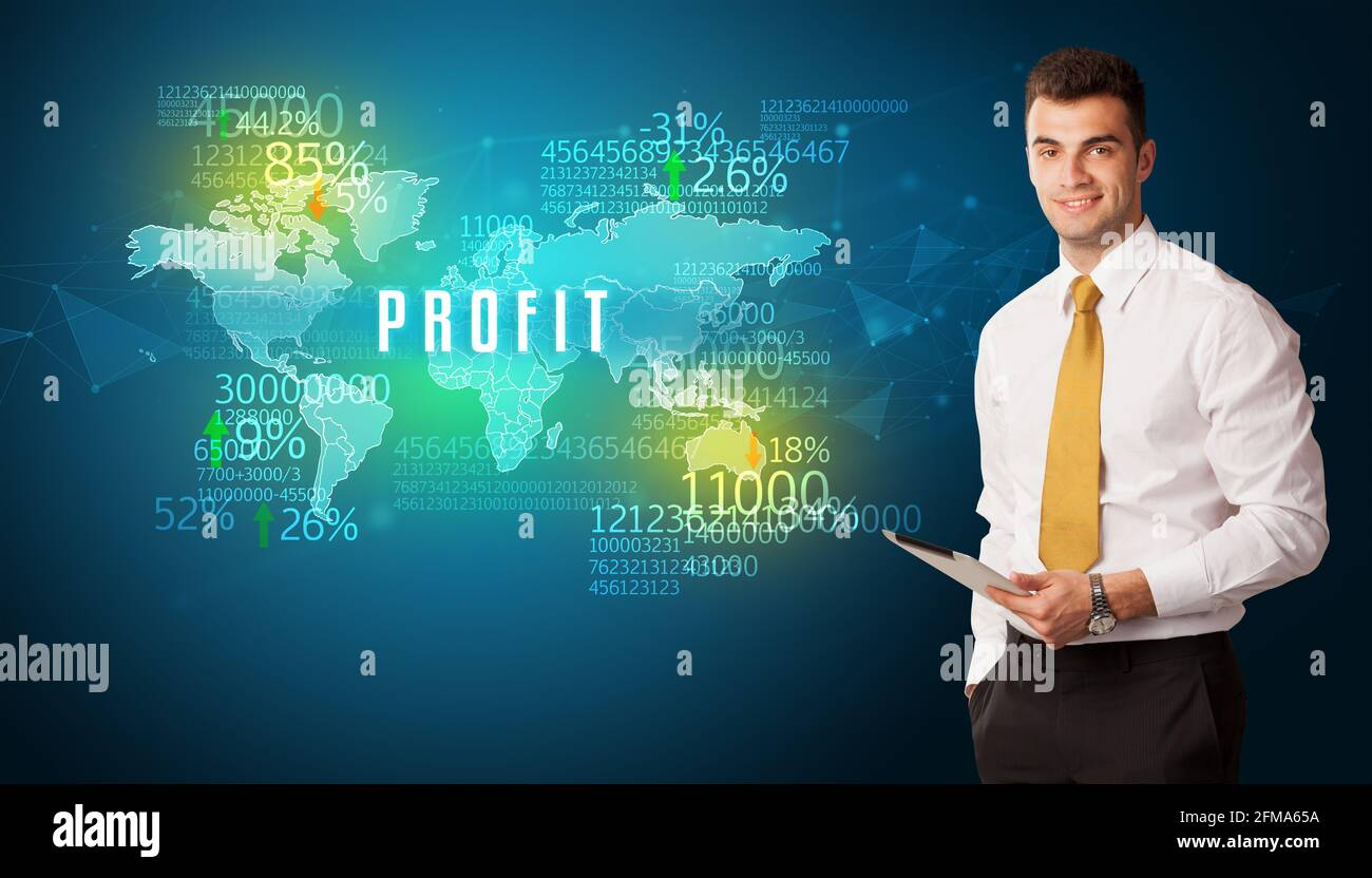 Homme d'affaires pensant au concept de marché Banque D'Images