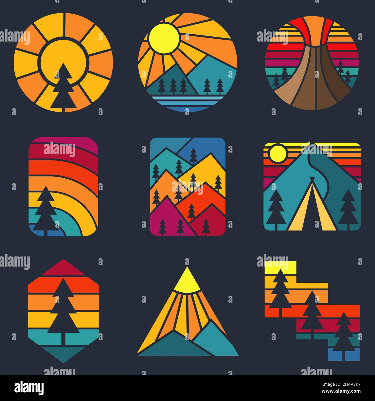 Illustration vectorielle rétro Mountain Illustration de Vecteur