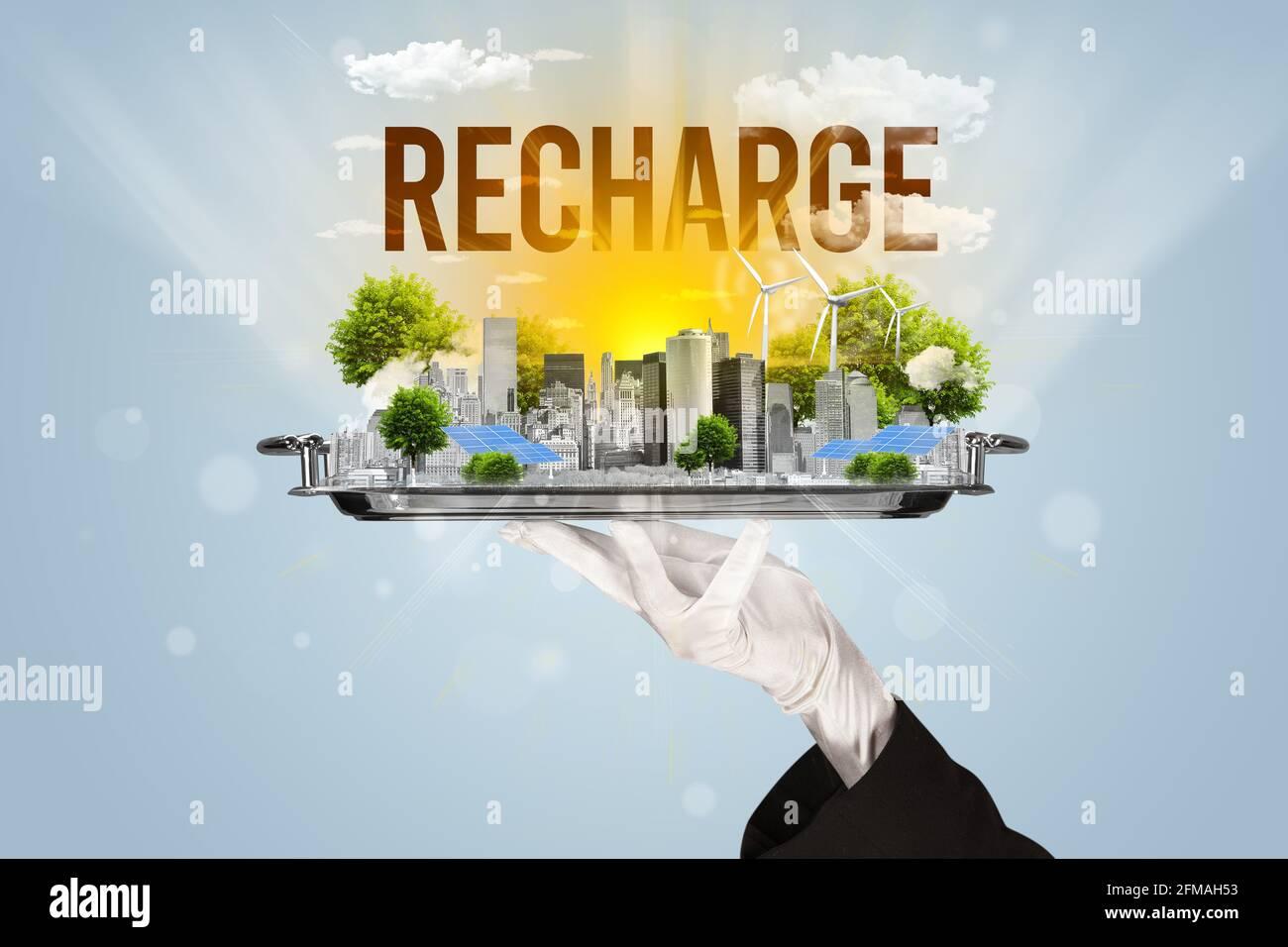 Concept éco-urbain pour serveur Banque D'Images