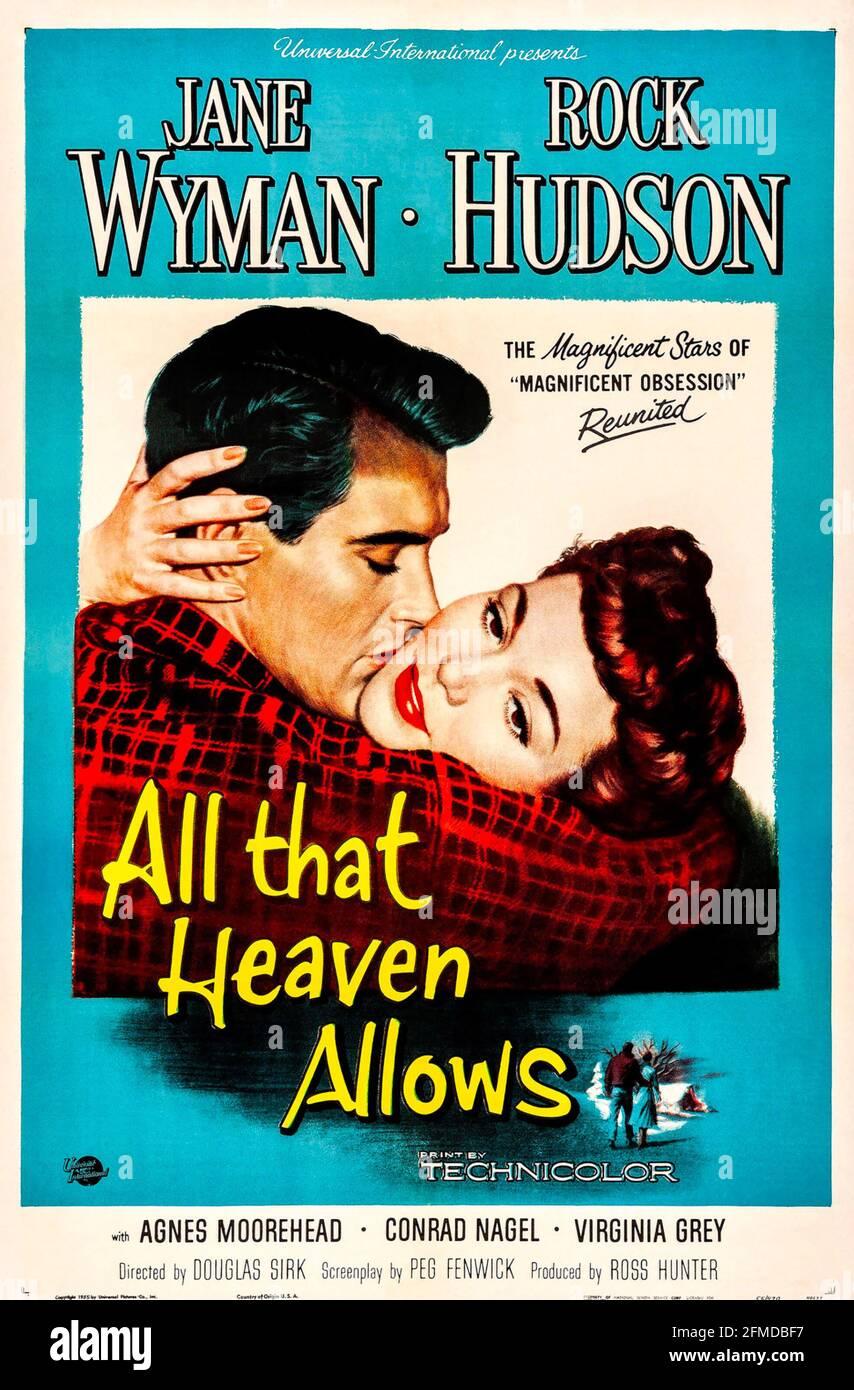 TOUT CE QUE LE CIEL PERMET 1955 Universal Pictures film avec Jane Wyman et Rock Hudson. Affiche de Reynold Brown. Banque D'Images