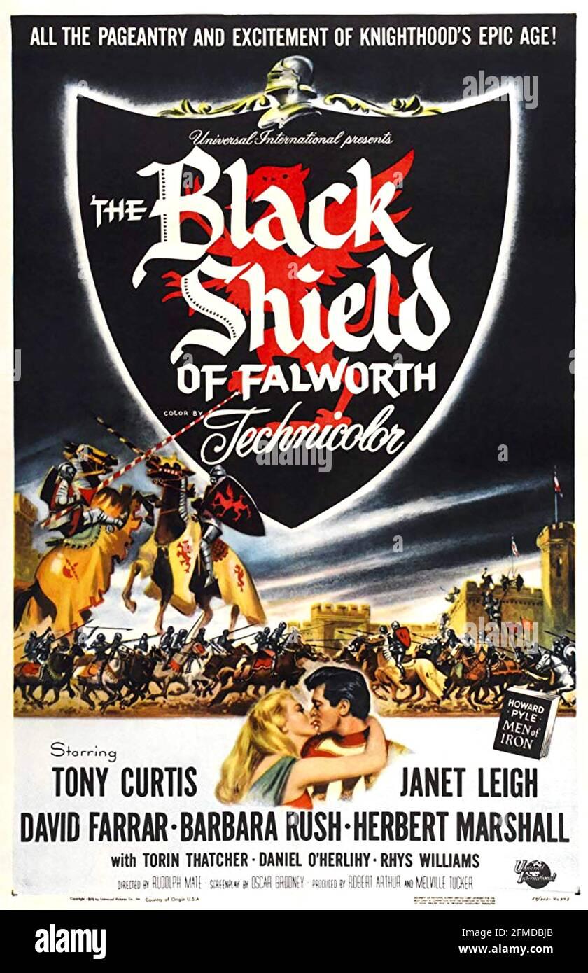 LE BOUCLIER NOIR DE FALWORTH 1954 Universal Pictures film avec Janet Leigh et Tony Curtis. Affiche de Reynold Borwn Banque D'Images