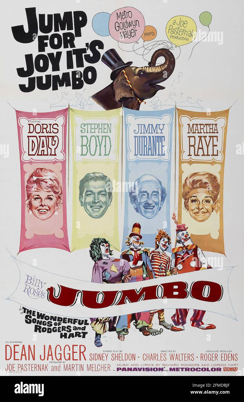 LE film JUMBO MGM 1962 DE BILLY ROSE avec Doris Day and Jimmy Durante Banque D'Images