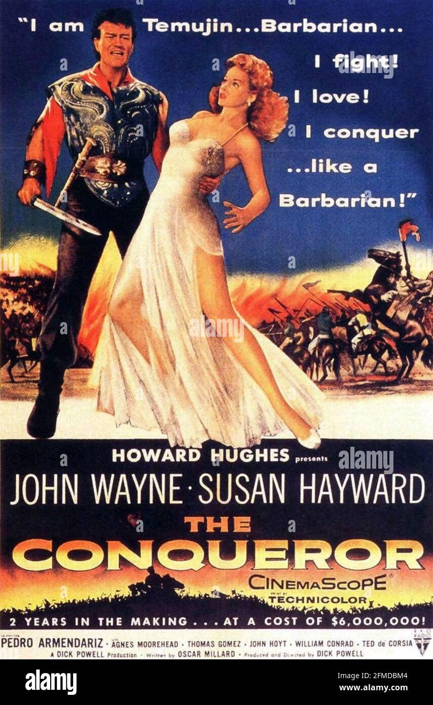 LE CONQUÉRANT 1956 RKO radio Pictures film avec Susan Hayward et John Wayne. Affiche de Reynold Brown Banque D'Images