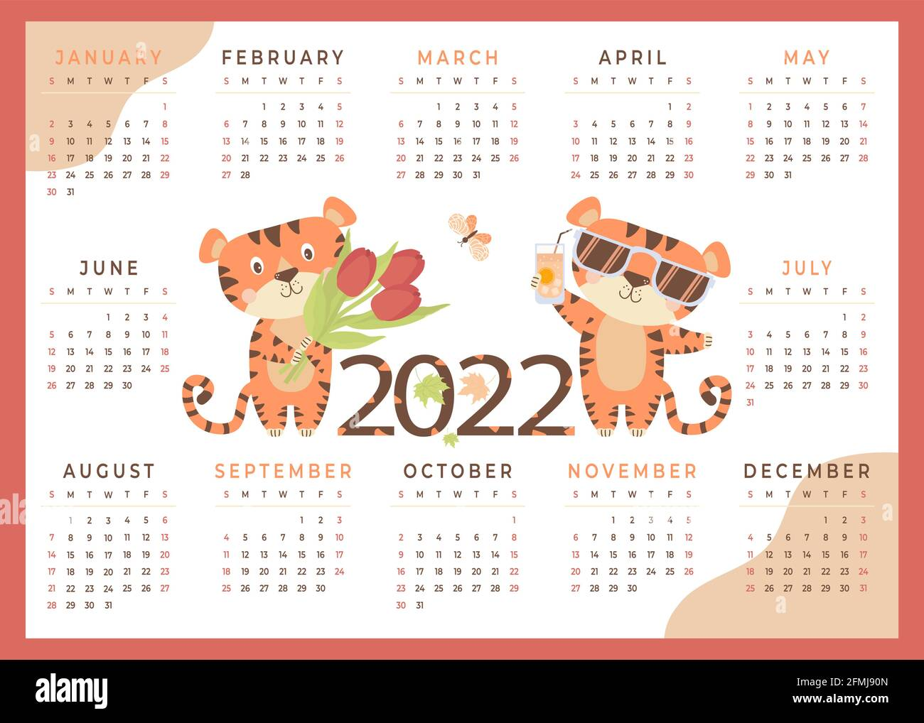 Calendrier 2022 Enfants 2022. Calendrier tigre pour enfants 2022 avec animaux mignons