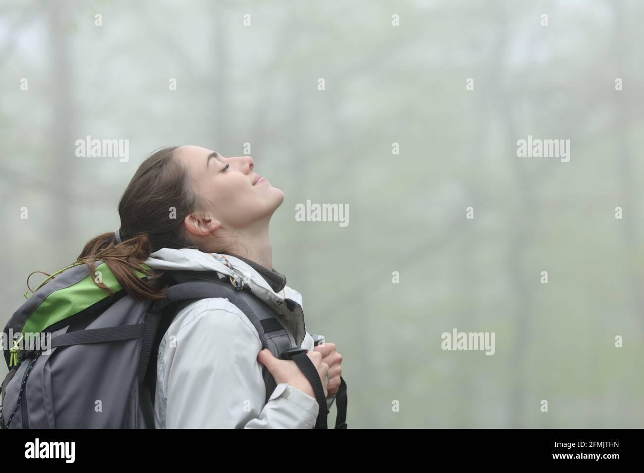 Vue latérale d'un trekker heureux respirant de l'air frais dans une forêt brumeuse Banque D'Images
