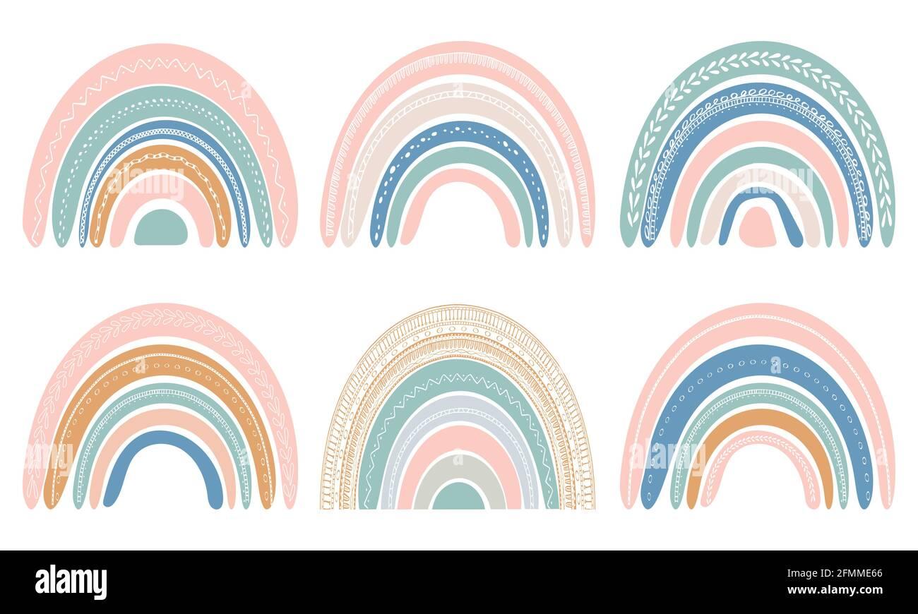 Ensemble de jolis arcs-en-ciel de style scandinave. Aquarelle arc-en-ciel isolée sur fond blanc. Couleurs pastel. Art moderne Vector. Illustration de Vecteur