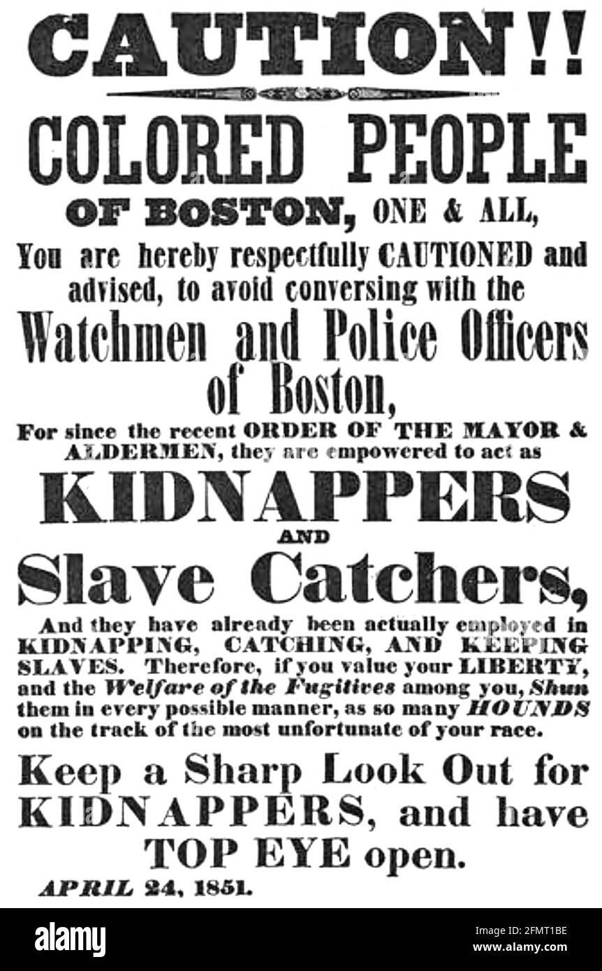 BOSTON AVERTISSEMENT AUX PERSONNES DE COULEUR 1851 Banque D'Images