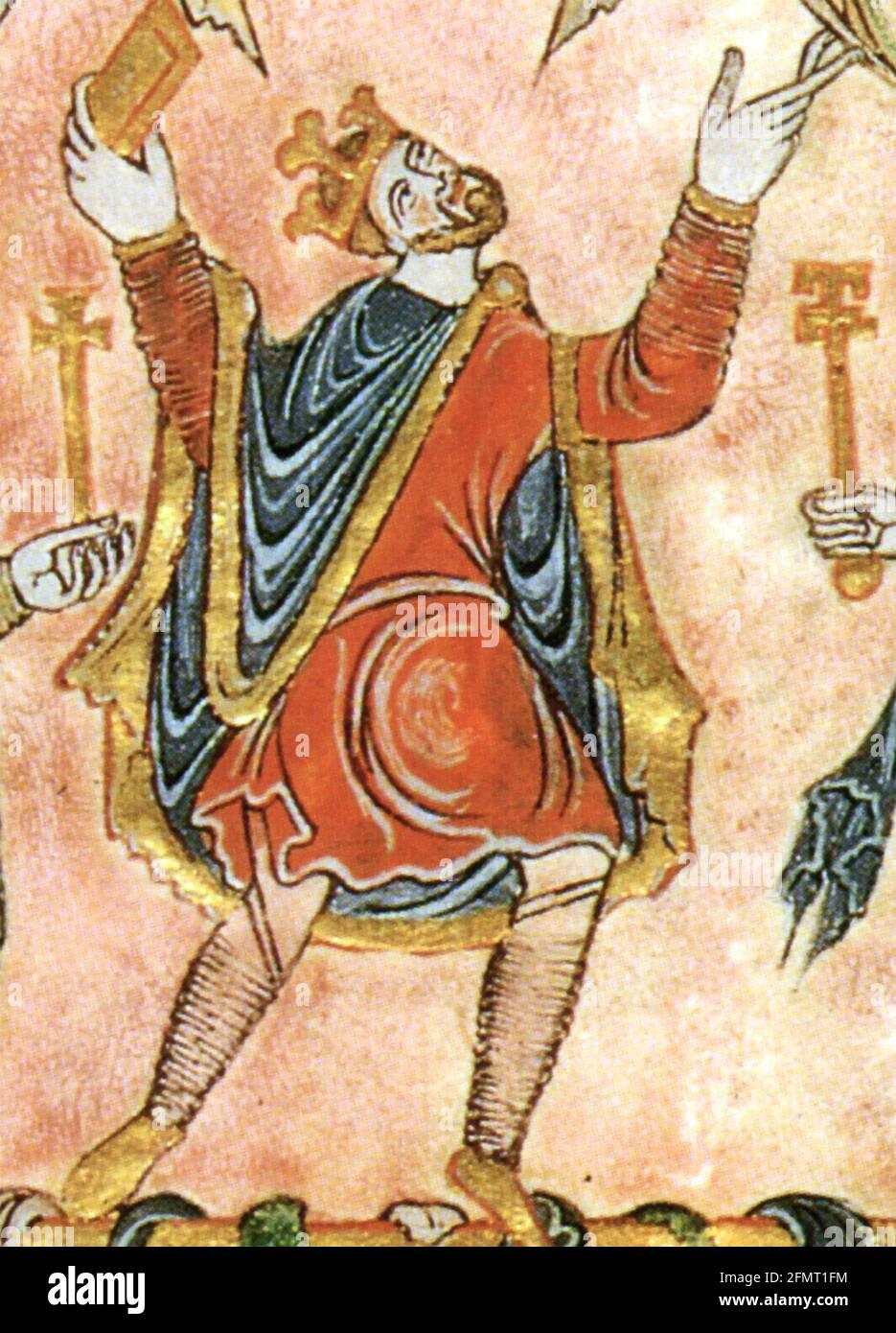 ROI EDGAR LE PAISIBLE (C 943-975) Roi d'Angleterre, comme illustré dans la charte New Minster dans 966 Banque D'Images