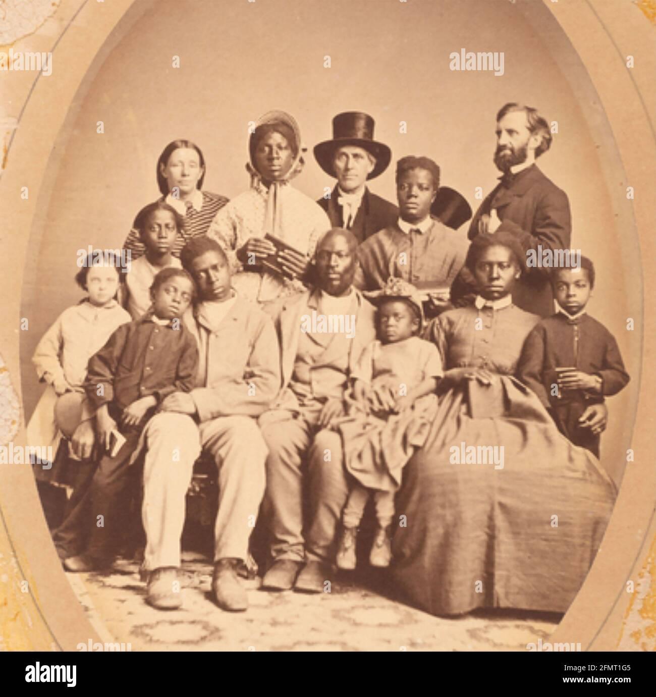 LEVI CERCUEIL (1798-1877) Quaker américain et abolitionniste (centre avec chapeau) avec son ami Jonathan Rummel les droits et le groupe d'anciens esclaves qu'ils ont sauvés. Banque D'Images