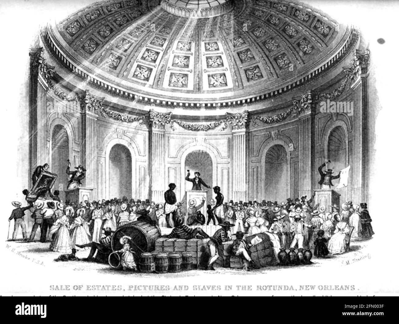 ROTUNDA, la Nouvelle-Orléans. 'Le monde des Estates, des photos et des esclaves à la Rotunda, la Nouvelle-Orléans' dans une gravure de 1842 Banque D'Images