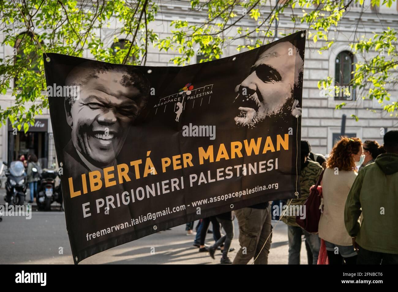Manifestation de soutien au peuple palestinien lors de l'attaque israélienne sur la bande de Gaza. Rome, Italie, 15 mai 2021 Banque D'Images