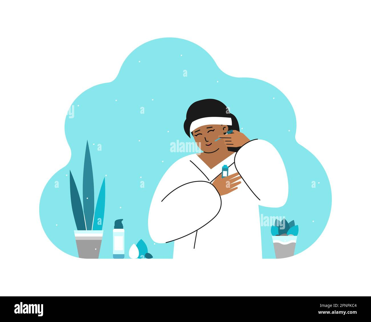 Concept Vector Flat isolé avec jolie femme asiatique dans la salle de bains, portant un peignoir blanc et utilisant des produits cosmétiques. Routine quotidienne de soin de la peau. Kore Illustration de Vecteur