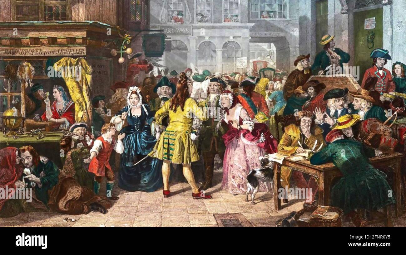 LA BULLE DE LA MER DU SUD un tableau de 1846 par Edward Quartier (1816-1879) Banque D'Images