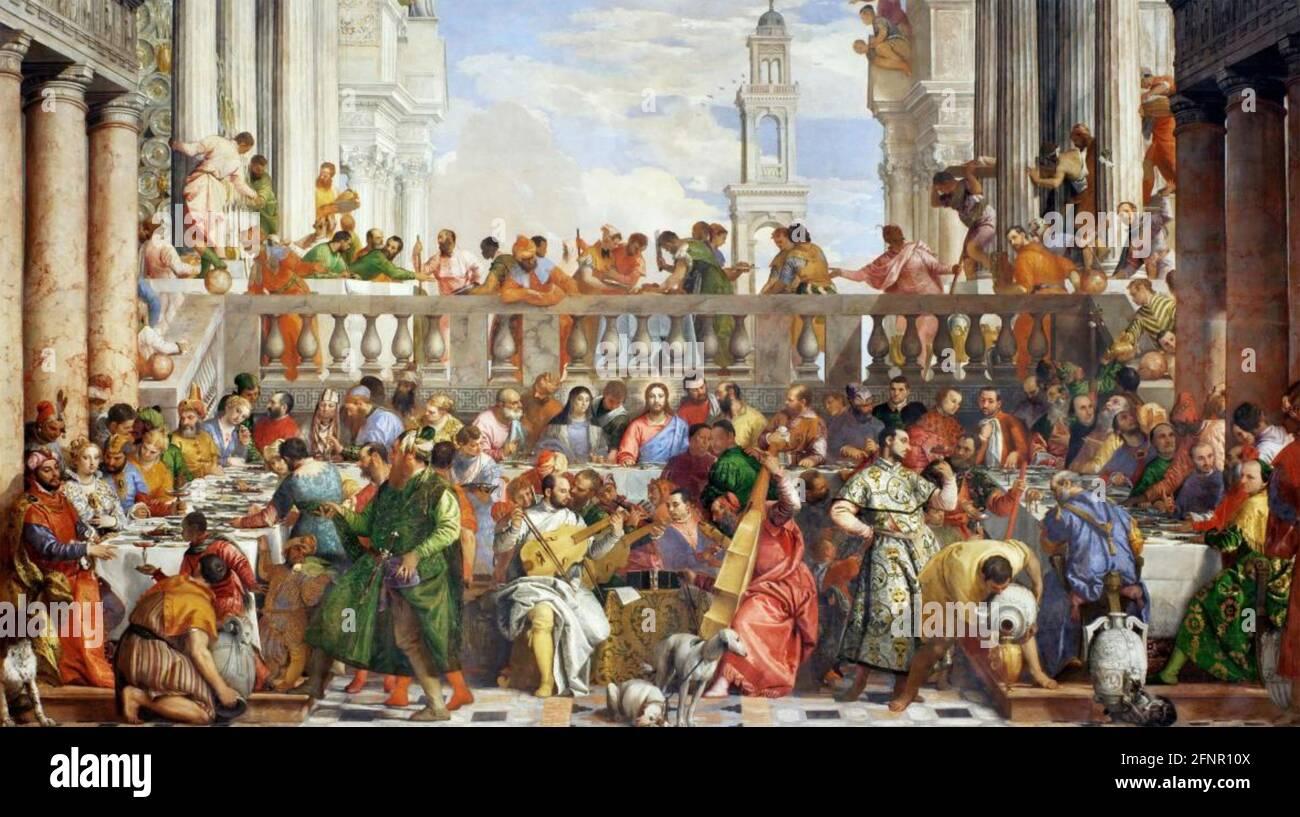 LE MARIAGE À CANA le tableau 1553 de Paolo Veronese (1528-1588) Banque D'Images