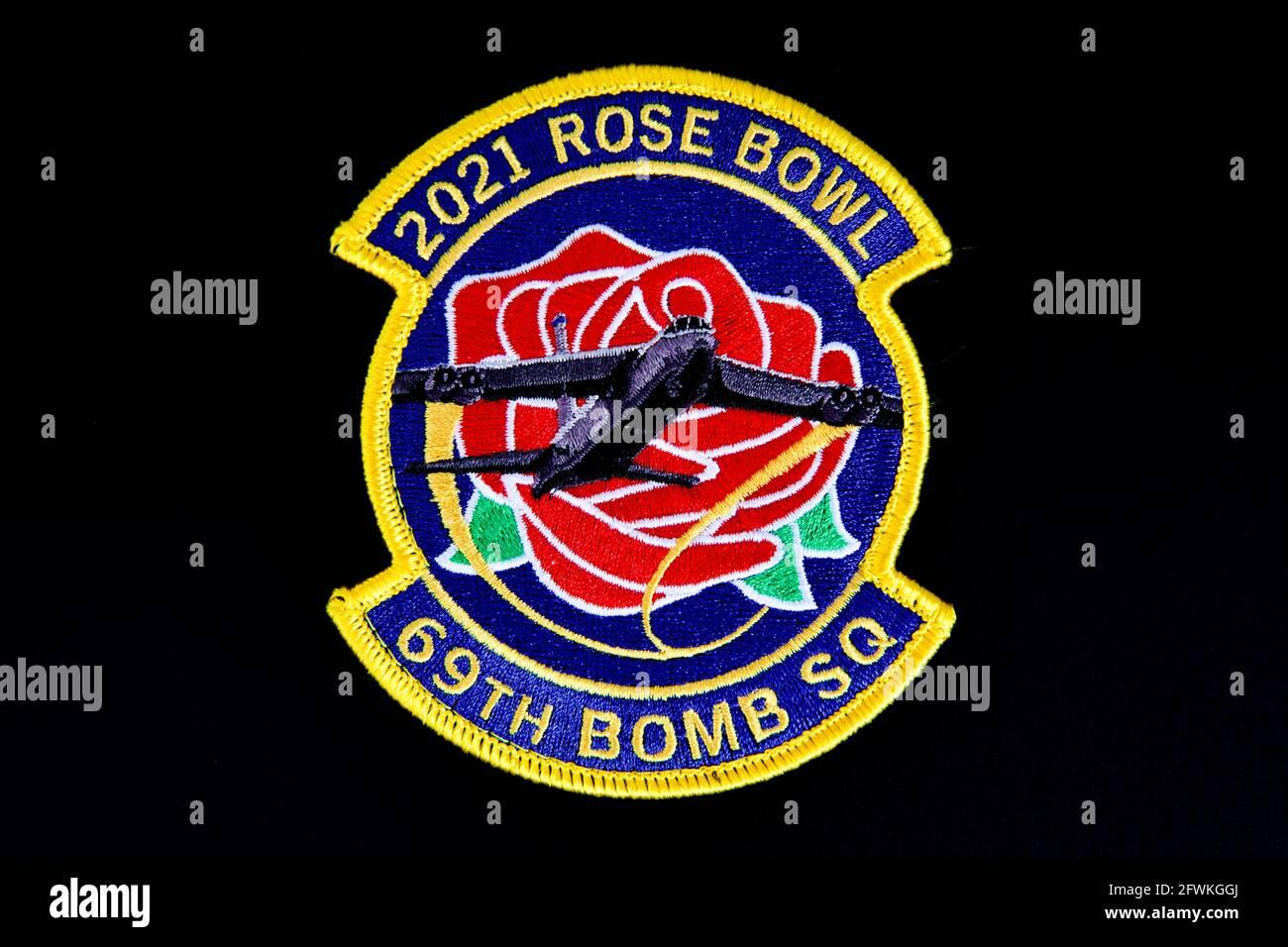 Le drapeau de survol du Rose Bowl du 69e Escadron de la bombe, la Sortie a été annulée! Banque D'Images