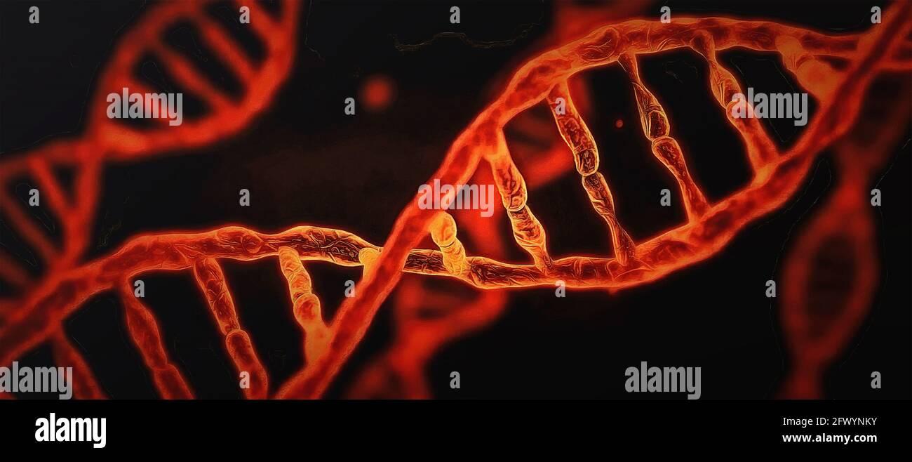 Spirale d'ADN rouge sur fond noir. Travail artistique Banque D'Images