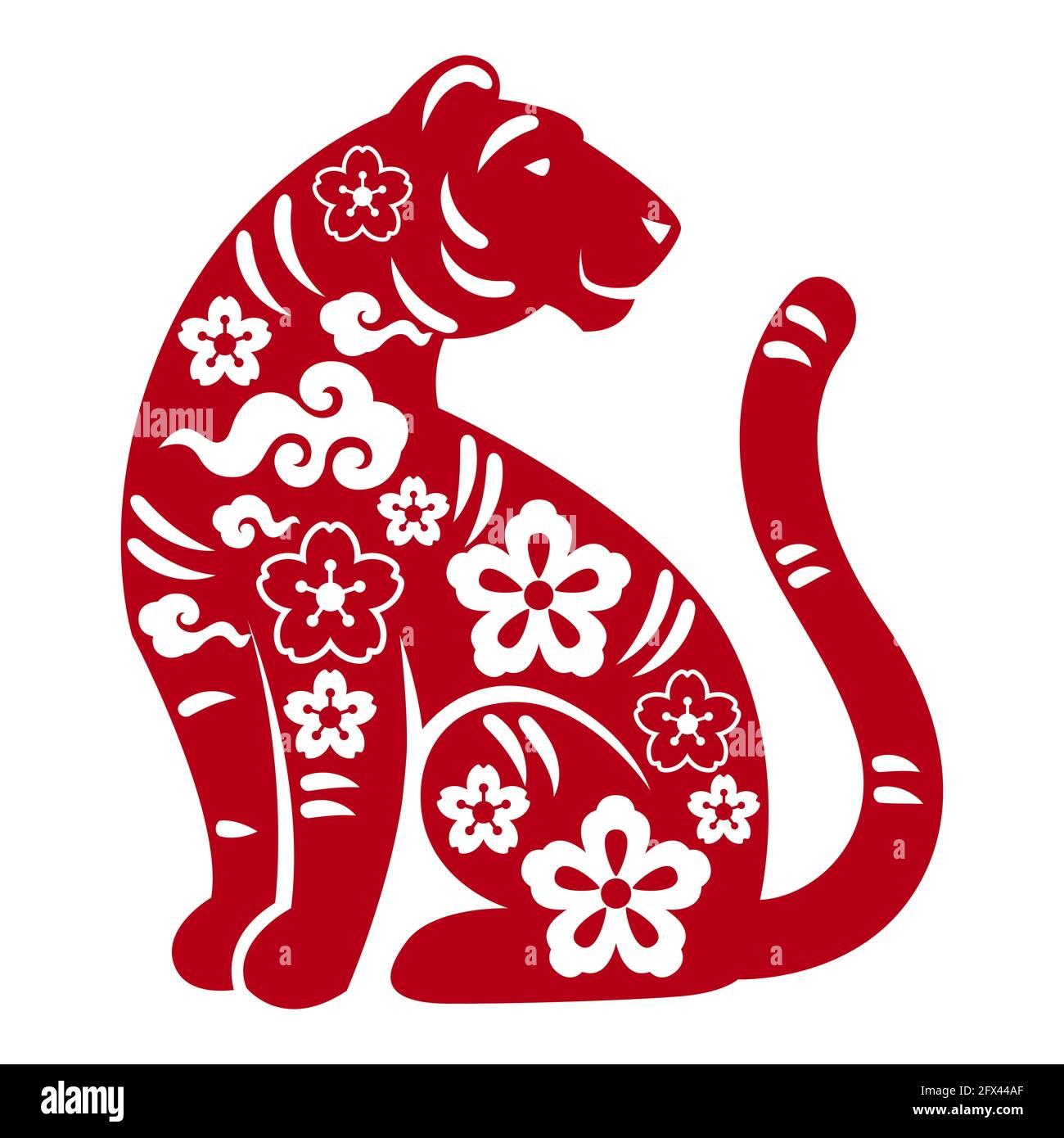 Calendrier Lunaire Chinois 2022 Illustration du symbole oriental du tigre de 2022. Joyeux animal