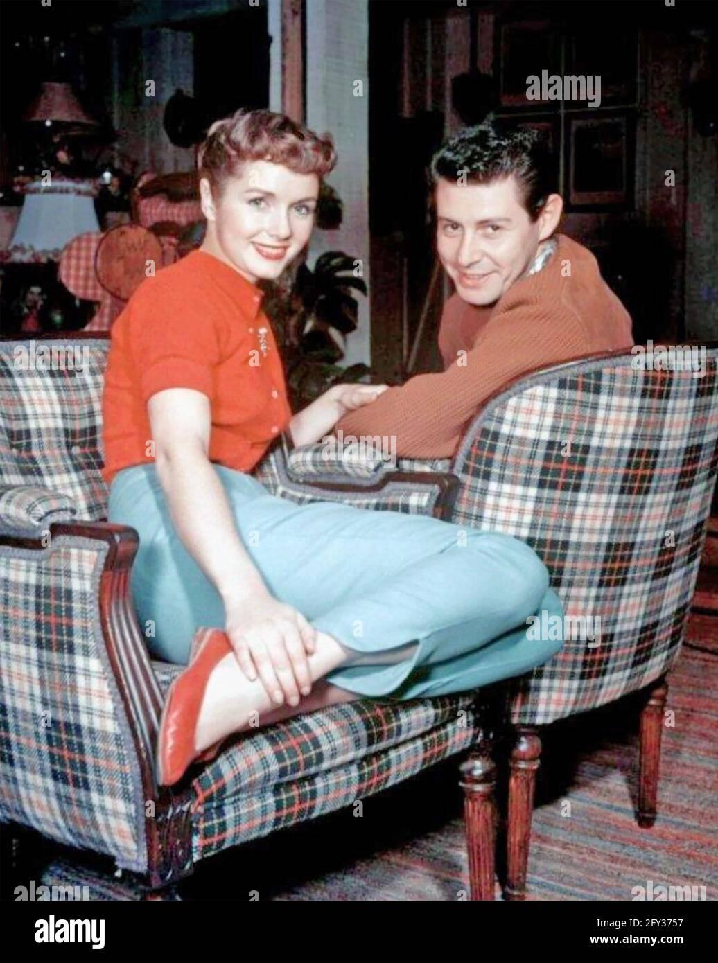 DEBBIE REYNOLDS actrice américaine de cinéma avec son premier mari Eddie Fisher vers 1956 Banque D'Images